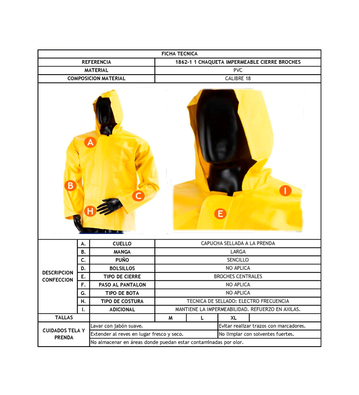 Waterproof Jacket With Hood And Clasp Closure Yellow Synergy Supplies - 3
