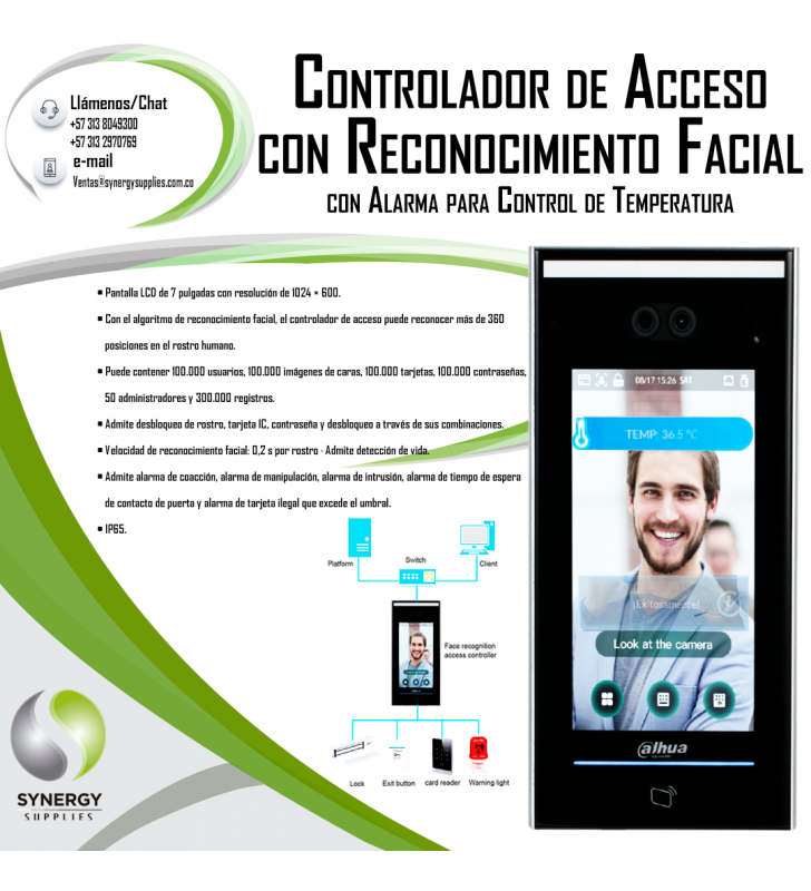 Access Controller With Face Recognition And Alarm For Temperature Control Dahua Technology - 3
