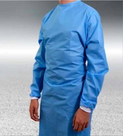 Disposable Surgeon Gown Double Closure White RIB Cuffs  - 1